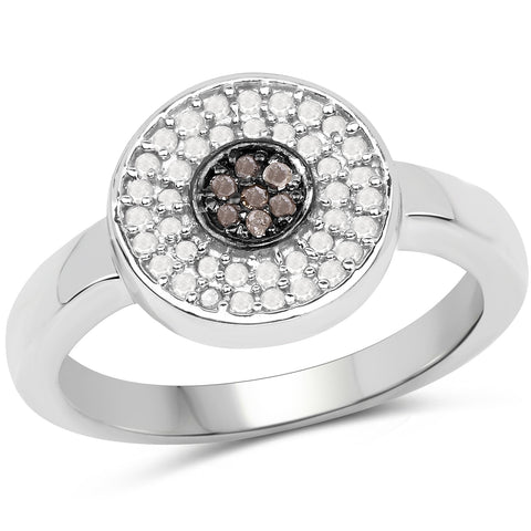 0.20 Carat Genuine Champagne Diamond and White Diamond .925 Sterling Silver Ring
