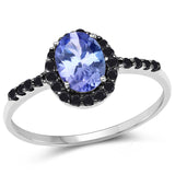 0.96 Carat Genuine Tanzanite and Black Diamond 10K White Gold Ring