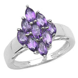 1.35 Carat Genuine Amethyst .925 Sterling Silver Ring