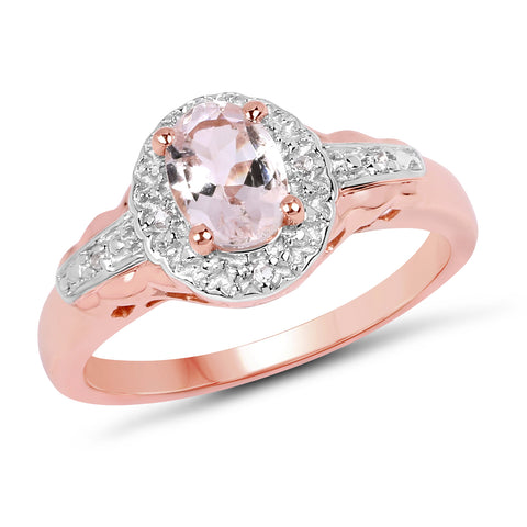14K Rose Gold Plated 0.73 Carat Genuine Morganite & White Topaz .925 Sterling Silver Ring