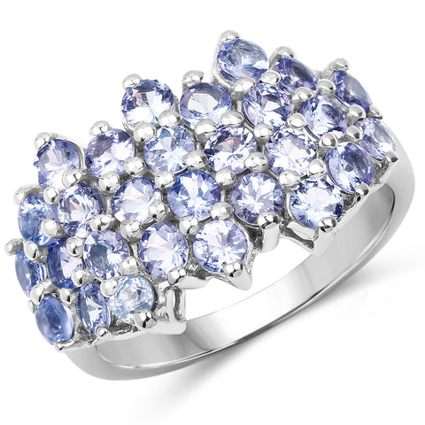 2.80 Carat Genuine Tanzanite .925 Sterling Silver Ring