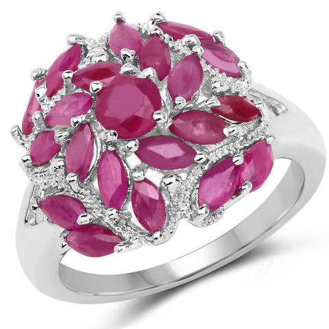 2.10 Carat Genuine Ruby .925 Sterling Silver Ring