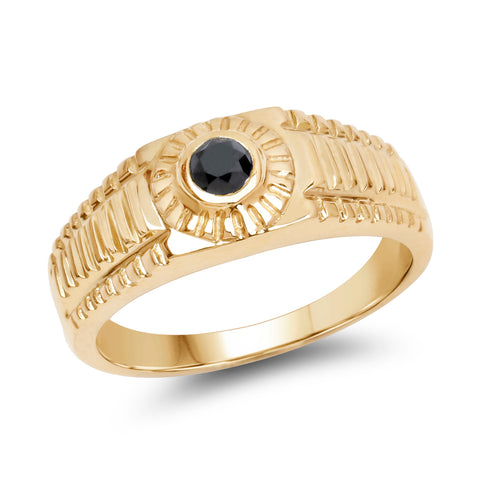 14K Yellow Gold Plated 0.20 Carat Genuine Black Diamond .925 Sterling Silver Ring
