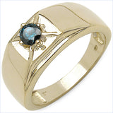 14K Yellow Gold Plated 0.25 Carat Genuine Blue Diamond .925 Sterling Silver Ring