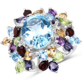 10.20 Carat Genuine Multi Stone .925 Sterling Silver Ring