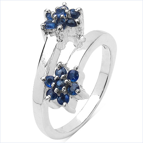 0.63 Carat Genuine Blue Sapphire .925 Sterling Silver Ring