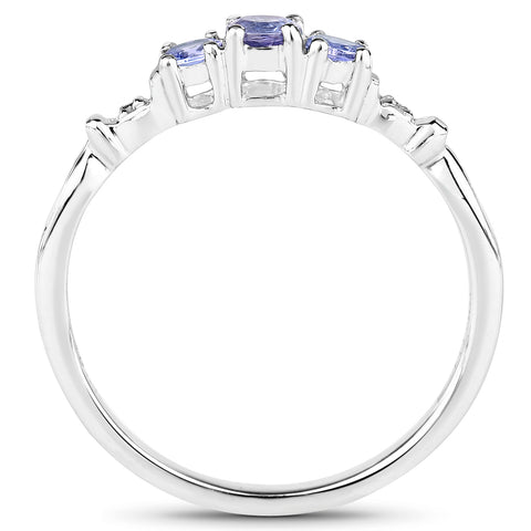 0.27 Carat Genuine Tanzanite and White Diamond 10K White Gold Ring