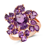 14K Rose Gold Plated 6.08 Carat Genuine Amethyst .925 Sterling Silver Ring