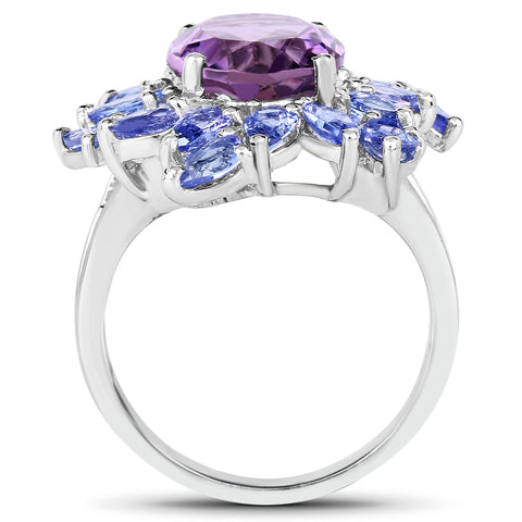5.72 Carat Genuine Amethyst & Tanzanite .925 Sterling Silver Ring
