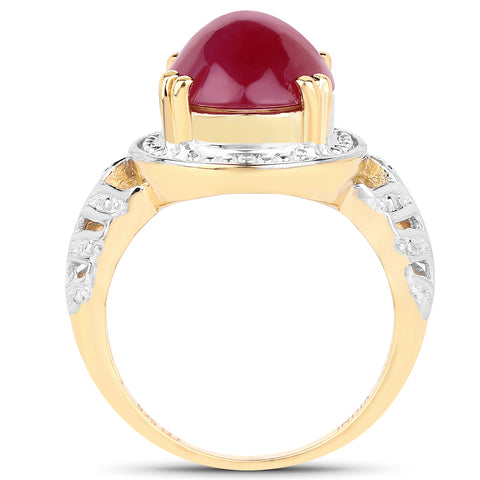 14K Yellow Gold Plated 4.46 Carat Genuine Glass Filled Ruby .925 Sterling Silver Ring