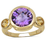 14K Yellow Gold Plated 3.90 Carat Genuine Amethyst & Citrine .925 Sterling Silver Ring