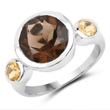 3.56 Carat Genuine Smoky Quartz and Citrine .925 Sterling Silver Ring