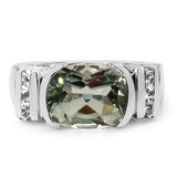 3.03 Carat Genuine Green Amethyst & White Topaz .925 Sterling Silver Ring