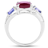 3.76 Carat Glass Filled Ruby and Tanzanite .925 Sterling Silver Ring