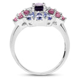 1.77 Carat Genuine Amethyst, Tanzanite and Rhodolite .925 Sterling Silver Ring