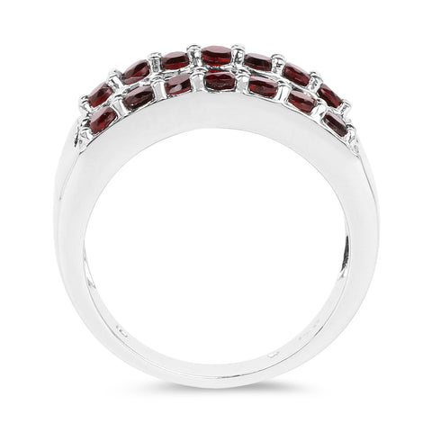 3.22 Carat Genuine Garnet .925 Sterling Silver Ring