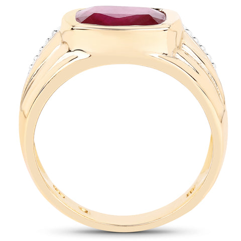 14K Yellow Gold Plated 3.50 Carat Genuine Glass Filled Ruby .925 Sterling Silver Ring