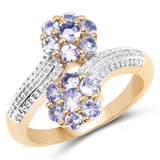 14K Yellow Gold Plated 1.04 Carat Genuine Tanzanite .925 Sterling Silver Ring