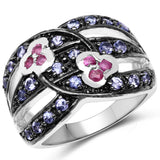 1.00 Carat Genuine Ruby and Tanzanite .925 Sterling Silver Ring