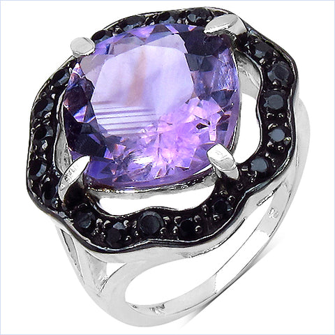 6.09 Carat Genuine Amethyst & Black Spinel .925 Sterling Silver Ring