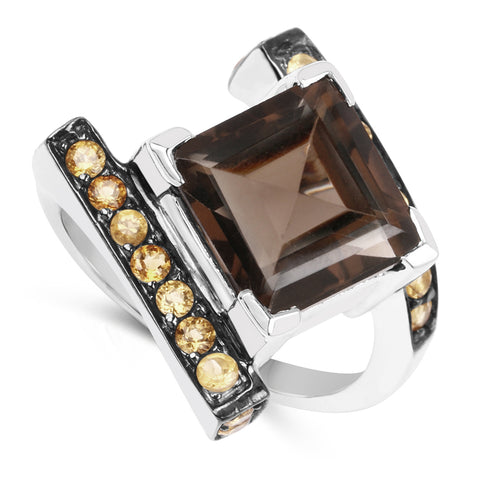 6.30 Carat Genuine Smoky Quartz and Citrine .925 Sterling Silver Ring