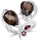 10.96 Carat Genuine Smoky Quartz and Rhodolite .925 Sterling Silver Ring