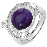 5.20 Carat Genuine Amethyst & White Topaz .925 Sterling Silver Ring