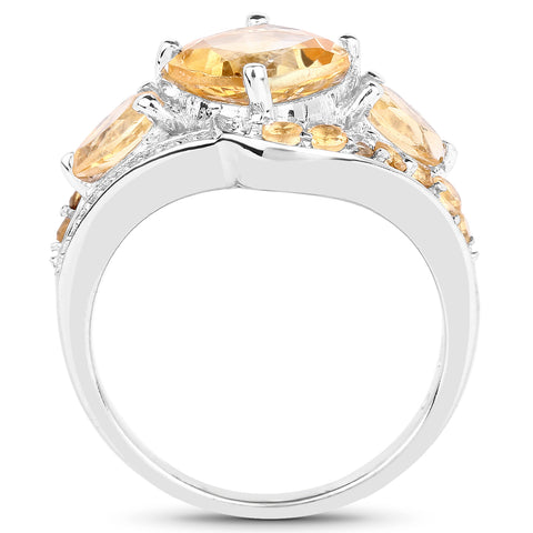 3.64 Carat Genuine Citrine .925 Sterling Silver Ring