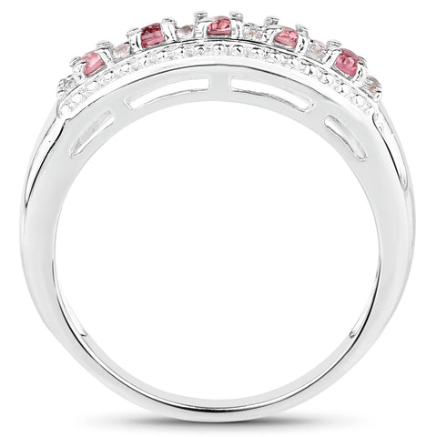 0.23 Carat Genuine Pink Tourmaline & White Topaz .925 Sterling Silver Ring