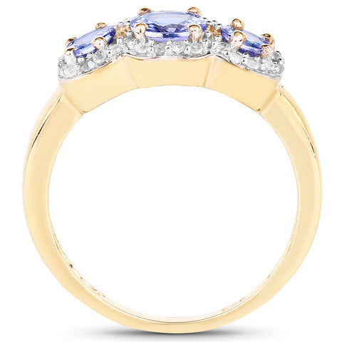 14K Yellow Gold Plated 1.01 Carat Genuine Tanzanite and White Topaz .925 Sterling Silver Ring