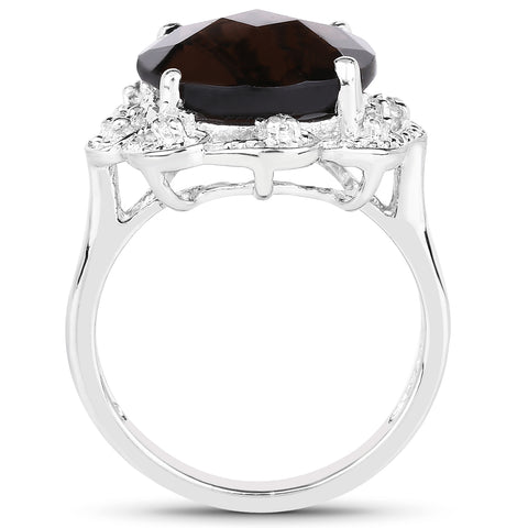 5.84 Carat Genuine Smoky Quartz and White Topaz .925 Sterling Silver Ring