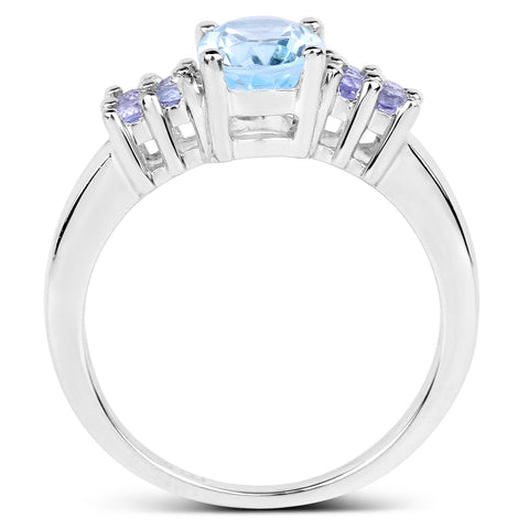 1.84 Carat Genuine Blue Topaz and Tanzanite .925 Sterling Silver Ring