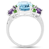 4.00 Carat Genuine Swiss Blue Topaz, Chrome Diopside & Amethyst .925 Sterling Silver Ring