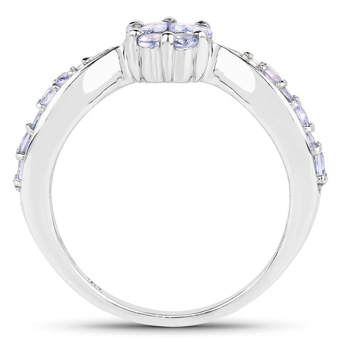 0.60 Carat Genuine Tanzanite and White Topaz .925 Sterling Silver Ring