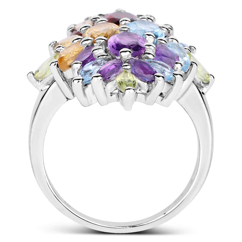 3.94 Carat Genuine Multi Stones .925 Sterling Silver Ring