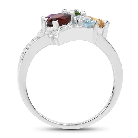 1.73 Carat Genuine Multi Stone .925 Sterling Silver Ring