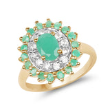 14K Yellow Gold Plated 1.57 Carat Genuine Emerald and White Topaz .925 Sterling Silver Ring
