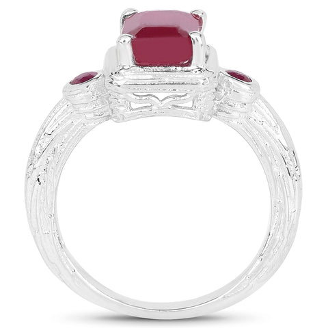 2.01 Carat Glass Filled Ruby .925 Sterling Silver Ring