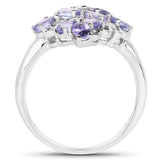 1.70 Carat Genuine Tanzanite .925 Sterling Silver Ring