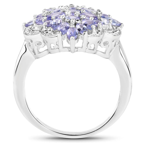 2.18 Carat Genuine Tanzanite .925 Sterling Silver Ring