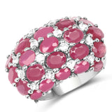 8.54 Carat Glass Filled Ruby and White Topaz .925 Sterling Silver Ring