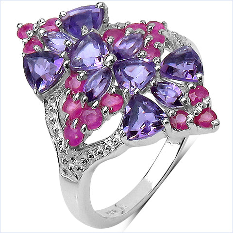 2.58 Carat Genuine Amethyst & Ruby .925 Sterling Silver Ring