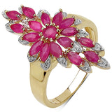 14K Yellow Gold Plated 2.04 Carat Genuine Ruby .925 Sterling Silver Ring