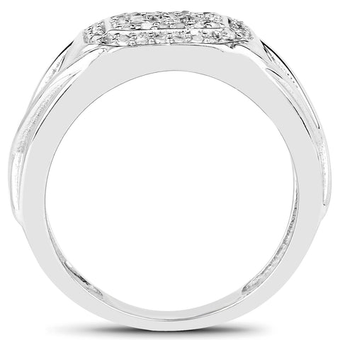 14K White Gold Plated 0.24 Carat Genuine White Diamond .925 Sterling Silver Ring