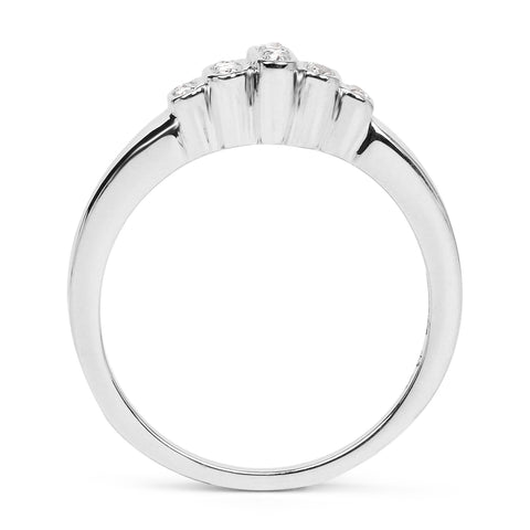 14K White Gold Plated 0.10 Carat Genuine White Diamond .925 Sterling Silver Ring