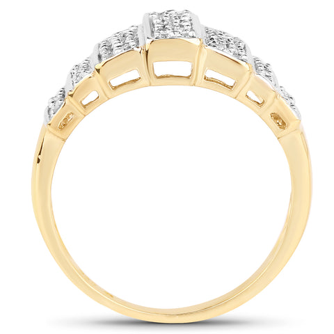 14K Yellow Gold Plated 0.26 Carat Genuine White Diamond .925 Sterling Silver Ring