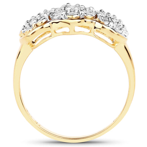 14K Yellow Gold Plated 0.11 Carat Genuine White Diamond .925 Sterling Silver Ring