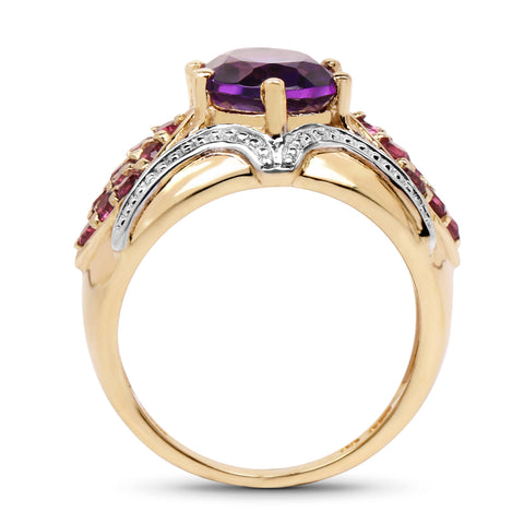 14K Yellow Gold Plated 3.01 Carat Genuine Amethyst & Rhodolite .925 Sterling Silver Ring