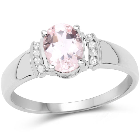 14K Rose Gold Plated 1.20 Carat Genuine Morganite & White Diamond .925 Sterling Silver Ring