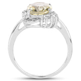 3.22 Carat Genuine Lemon Topaz and White Topaz .925 Sterling Silver Ring
